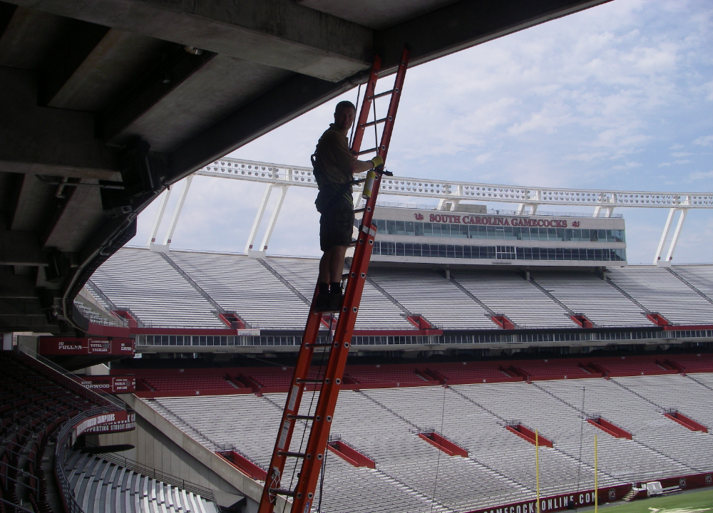 Wildlife specialist climbing a ladder in the bleachers of a stadium